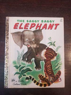 Vintage The Saggy Baggy Elephant Little Golden Book #385 Twentieth Printing 1972 for Sale in Lexington, SC