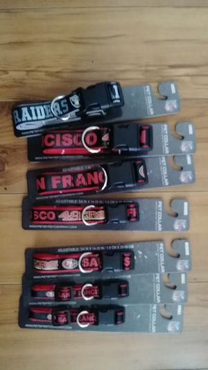 Dog collars Raiders size large San Francisco 49ers large , medium and small for Sale in San Lorenzo, CA