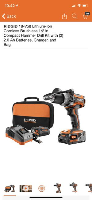 RIDGID 18-Volt Lithium-Ion Cordless Brushless 1/2 in. Compact Hammer Drill Kit with (2) 2.0 Ah Batteries, Charger, and Bag for Sale in Philadelphia, PA