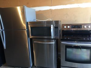 Like new stainless steel fridge stove microwave dishwasher excellent working condition cheap price for Sale in Winter Park, FL