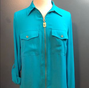 Michael KORS women's sheer blouse TILE BLUE for Sale in Millersville, MD