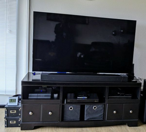Big TV Stand Entertainment Media Center shelf shelves