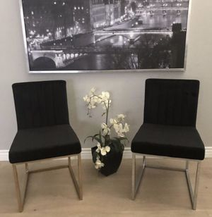 Gorgeous set of two accent black microfiber modern dining chairs with gold and silver legs staging furniture for Sale in Peoria, AZ