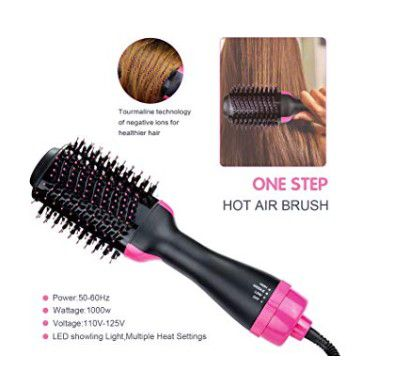 Hair Dryer Brush, One-step Hair Dryer and Volumizer Blower Brush for Dry & Straighten & Curling, Hot Air Styling Brush