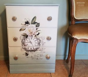 White French Floral Motif Dresser, Nightstand, Side, End, Accent, Table, Farmhouse, Shabby Chic, Honeycomb Restoration for Sale in Phoenix, AZ