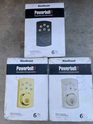 Kwikset Powerbolt2 Satin Nickel / polished brass / Venetian bronze Single Cylinder Electronic Deadbolt Featuring SmartKey Security for Sale in Irvine, CA