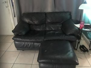 Black leather couch with ottoman for Sale in Hialeah, FL