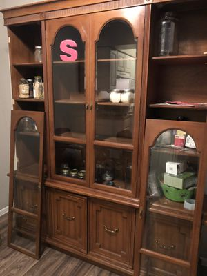 CHINA CABINET 2 pieces Flint glass for Sale in Tempe, AZ