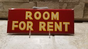 """VINTAGE N.O.S. 60's ~ """"ROOM FOR RENT - SIGN"""" TIN REFLECTIVE ~ SIGN. $40.00 measures 3-1/2"""" x 9-1/4"""" It's a sign, not a room 4 rent. Jeez! for Sale in Bakersfield, CA"""