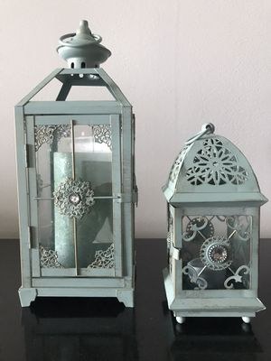 """Pier one lanterns. Large candle included. Large is 13"""" tall, 5"""" wide. Small is 8"""" tall, 3.75"""" wide. for Sale in Riviera Beach, FL"""