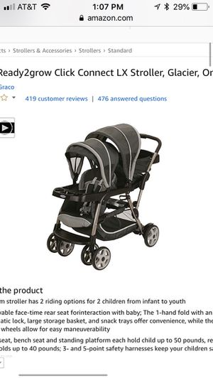 New graco ready2grow click connect double stroller, glacier for Sale in Dublin, OH