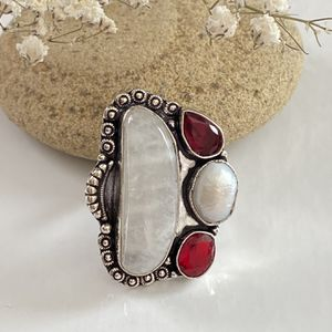 Rainbow Moonstone, garnet and biwa pearl handcrafted 925 sterling silver overlay ring size 10 for Sale in Camarillo, CA