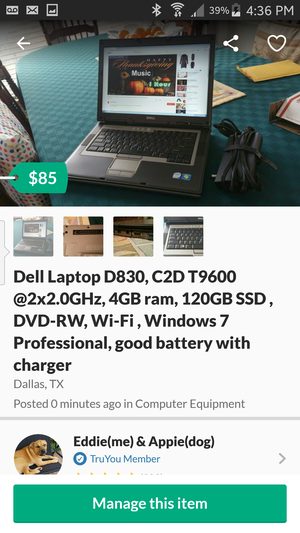 Fast Dell Laptop D830, C2D T9600 @2x2.0GHz, 4GB ram, 120GB SSD , DVD-RW, Wi-Fi , Windows 7 Professional, good battery with charger for Sale for sale  Dallas, TX