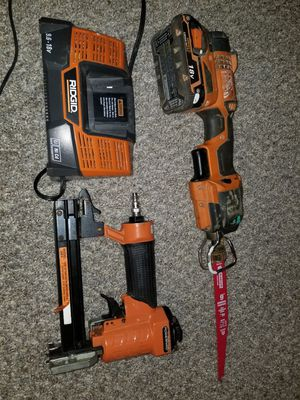 Tool set 18v power saw, nail gun and Rigid battery charger all for $55 for Sale in Berlin, NJ