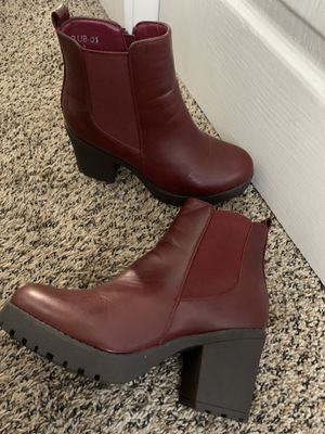 Chunky maroon boots for Sale in Vancouver, WA