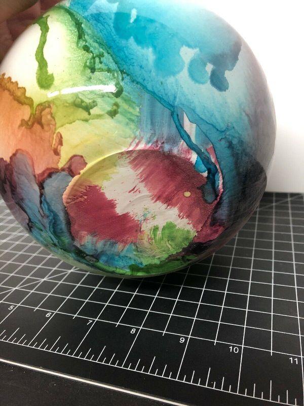 "Vintage California Glass Bowl Rainbow Colors 6"""