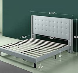 Grey Wingback King Size Bed Frame for Sale in Portland,  OR