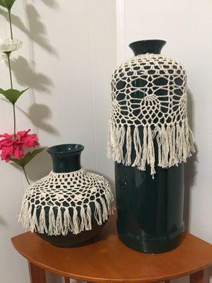 Green ceramic macrame pottery for Sale in Salt Lake City, UT