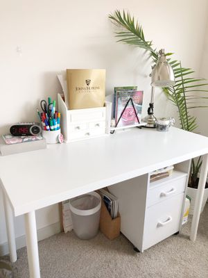 Ikea White Table and Cabinet for Sale in Rockville, MD