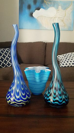 3 Blue Vases for Sale in Dallas, TX