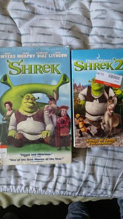Shrek part 1 and 2 vhs lot! Rare! $10 for both plus $3.49 to ship! for Sale in Edinburg,  TX