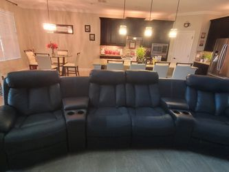 Black Leather Reclining Theater Seats for Sale in Clermont,  FL