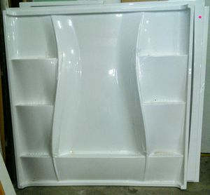 """Shower base ensemble, white 5' x 5' main with 6 shelves and two 5' x 27"""" side walls. for Sale in Canby, OR"""