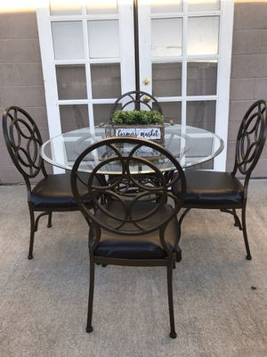 Heavy glass dining room table and 4 chairs l can deliver for a fee for Sale in Lodi, CA