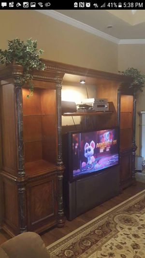 Entertainment Wall Unit Wood and Marble for Sale in Meeker, OK