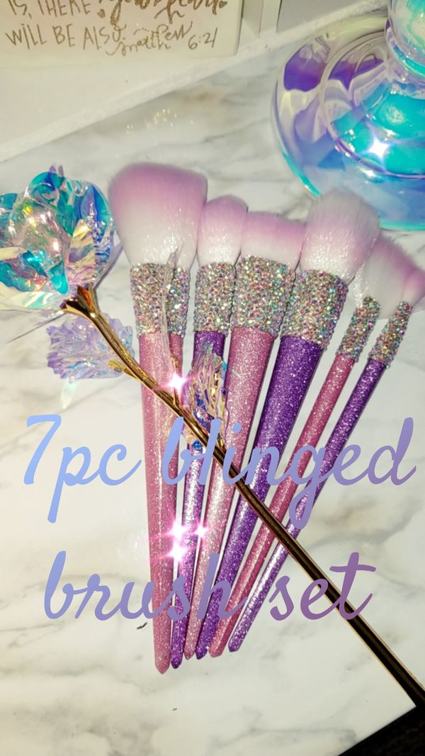 Blinged makeup brushes