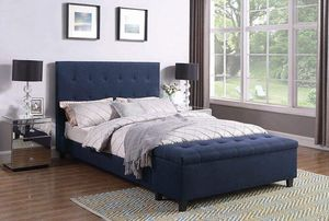 (Brand New In Boxes) Queen Size Blue Tuft Fabric Storage Bed Frame for Sale in Norcross, GA