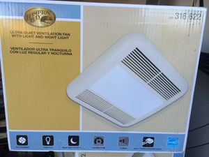 Hampton Bay ultraquiet ventilation fan with light and night light for Sale in Scottsdale, AZ