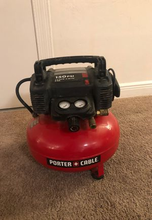 Porter-Cable C2002 Air Compressor, 6 gal, 150 psi, 2.6 scfm at 90 psi Oil-free pump design for reliability and no maintenance. Low amp motor starts e for Sale in Miami, FL