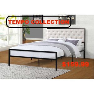 Full Metal Bed Frame with Beige Headboard for Sale in Bell Gardens, CA