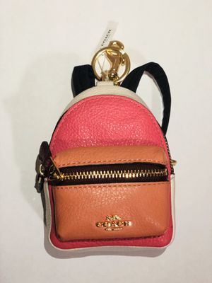 Coach NEW Coach Pink Colorblock Leather Mini Backpack Coin Purse Charm Key Ring for Sale in Fresno, CA