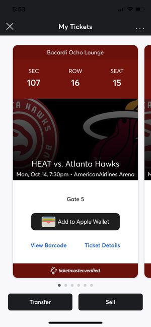 Miami Heat vs Atlanta Hawks Tickets (3) for Sale in Miami, FL