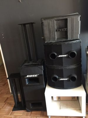 Bose set two subs two speakers travel case Bose equalizer stand setup professional application medium venues weddings exc. for Sale in New York, NY