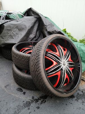 30x10 Diablo Morpheus Black with Red Accents Rims with Lionhart 275x /30r30 Tires for Sale in Oceanside, NY