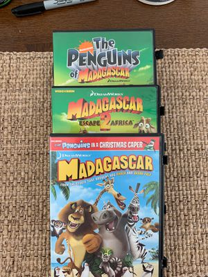 Nickelodeon Madagascar, Escape 2 Africa and Penguins of Madagascar 3 (three) DVD set Like New kids movie for Sale in Hazlet, NJ
