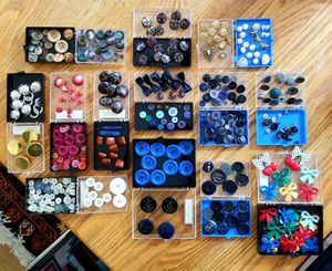 Collection of buttons, various sizes, colourful, about 400 pieces, sewing, craft, crafting, art, small to large, vintage for Sale in PRESIDIO MTRY, CA