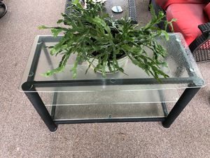 Black metal and glass 3 shelve tv stand. for Sale in Pekin, IL