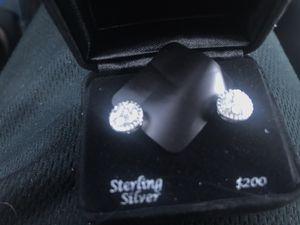 Sterling Silver Diamond earrings for Sale in Kent, WA