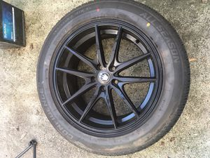 Subaru set of 4 black rims and brand new tires for Sale in Newberg, OR