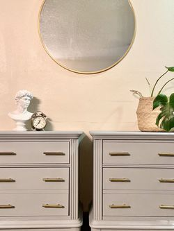 Refinished Set Of Two Nightstands On Legs With New Hardwares Painted Gray for Sale in Tigard,  OR