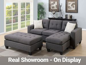 Real Showroom 😁 We Finance - Blue Grey Reversible Chaise Couch Sofa Sectional With Ottoman for Sale in Bellflower, CA