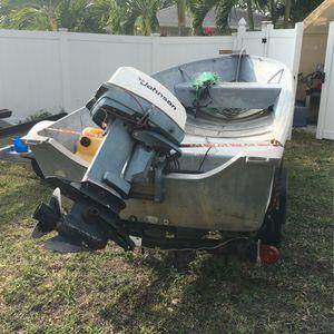 Jon Boat V-Hull/ 35 HP Johnson/trailer for Sale in St. Petersburg, FL