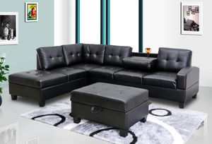 New! Black Leather Sectional and Storage Ottoman *FREE SAME DAY DELIVERY* for Sale in Washington, DC