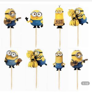 24pcs Cartoon Minions Cupcake Toppers Baby Shower kids Birthday Wedding Decoration Party Supplies Cake Flag Despicable Me Banana for Sale in Coconut Creek, FL
