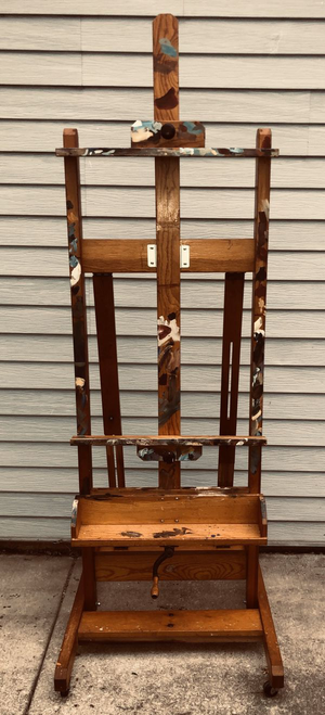 Mid-Century ANCO BILT Easel Vintage Oak Wood H-Frame large Artist Painting Display Studio Adjustable, 360 degree wheels w/ Tray and a Tripod Easel for Sale in Woodridge, IL