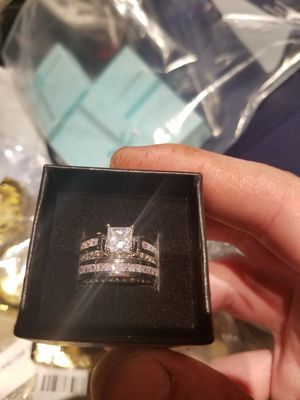 Princess Cut 10k white gold filled Zircon CZ Wedding Bride Rings set Charming Jewelry for Sale in Lakewood, CO